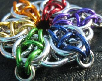 Rainbow celtic star keychain