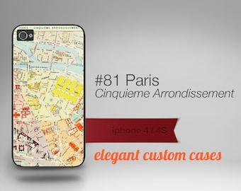 Cell Phone Case Iphone 5 / 5S / 5C 4 / 4S Samsung Galaxy S3 / S4 -Map of Paris Cinquieme Number 81