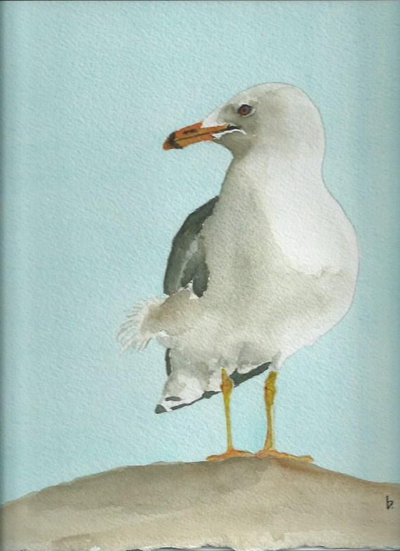 Seagull Original Watercolor Painting Gull