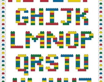 Brick Alphabet Cross Stitch Pattern