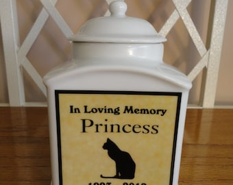 "Pet Urn, Memorial, ""Personalized"", Cat, Dog, Photo Urn, Add photo or poem, Name, Dates"
