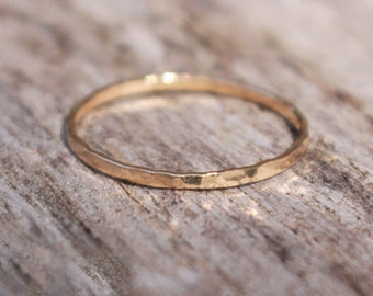 Stacking Ring 14K Gold Filled Hammered 16 gauge Handmade