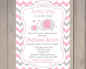 Pink Elephant Baby Shower Invitation Printable Baby Girl