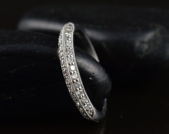 Lily Anne - Diamond Wedding Band in White Gold, Round Brilliant Cut, Double Row Pave Knife Edge Setting with Beaded Milgrain, Free Shipping