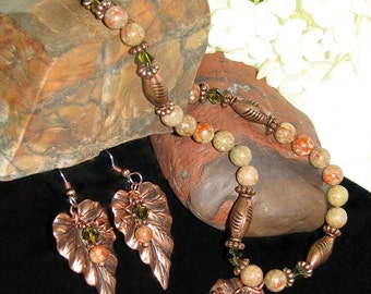 Autumn Jasper/Copper Necklace