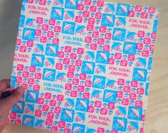 Vintage Neon Pink & Blue Umbrellas Rain For Your Shower Gift Wrap Partial Sheet