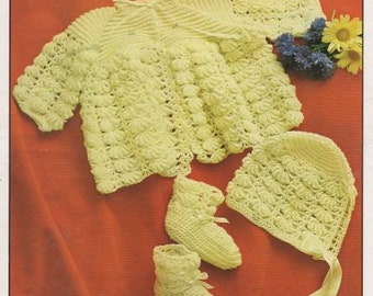 bullion stitch baby matinee coat  set vintage crochet pattern PDF instant download
