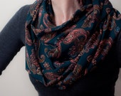 Teal Blue Infinity Scarf Paisley Print Loop Scarf Turquoise Circle Scarf Vibrant Eternity Scarf Women's Fashion Accessories Fall Fashion