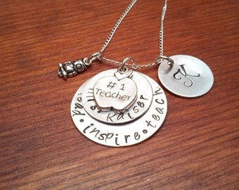 Handstamped Personalized teacher's necklace-Teacher's gift-#1 Teacher-Lead.inspire.teach-End of school year gift-Teacher appreciation