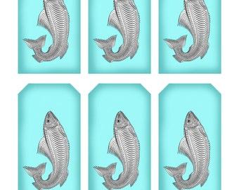 Antique SPENCERIAN FISH CALLIGRAPHY Tag Sheet -  Instant Download image Fancy Penwork Penmanship