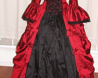 Fairytale Masquerade Couture Silk Fantasy Bustle Gown