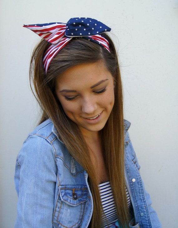 Rockabilly Headband  Reversible Wired Dolly Bow  PIN UP Fabric Headwrap American Girl Flag