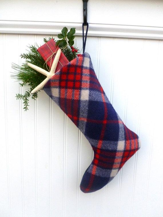 patriotic plaid wool christmas stockings by northeasternnautical