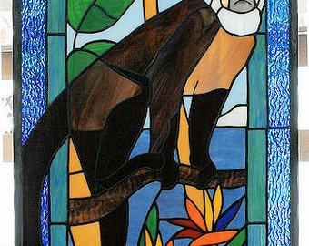 Capuchin Monkey Stained Glass Window Panel