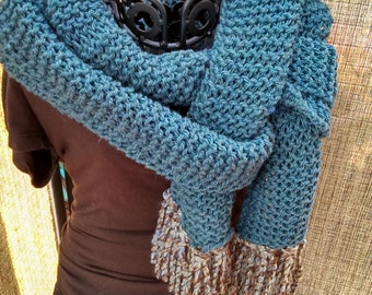 Blue  Extra-Long Wool Scarf with Fun Fringe