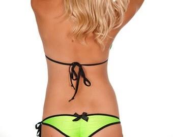 Lime green and black heart scrunch bikini bottom with black trim black bow pucker bottom