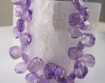 Purple Amethyst Petal Shaped Beads