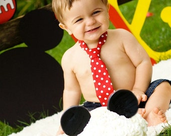 Baby Boy/ Toddler Red with White Polka Dot Tie.  Great for Mickey Mouse First Birthday or Cake Smash.