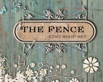 Etsy Shop Banner Set, Etsy Shop Set, Etsy Banner Set -  The Fance Design - Flowers on Wood Etsy banner