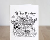 San Francisco Map. Blank Card. Illustration. 100% Percent Recycled Paper.