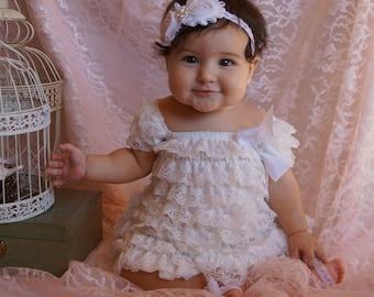 White double rosette headband - baptism headband - white flower headband - newborn headband - photo prop