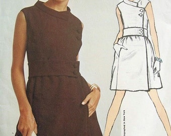 1960s LOVELY Vogue Americana 1856 Vintage Sewing Pattern Chester Weinberg Mod Designer Side Closing Cocktail Party Dress