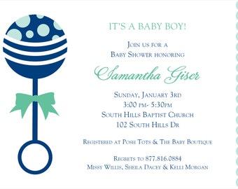 Blue Rattle Baby Shower Invitation - DIY PRINTABLE