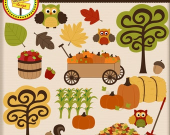 Fall Clip Art - Fall Clipart - Cute Digital Clipart - Personal Use - Commercial Use - Card Design, Scrapbooking, and Web Design