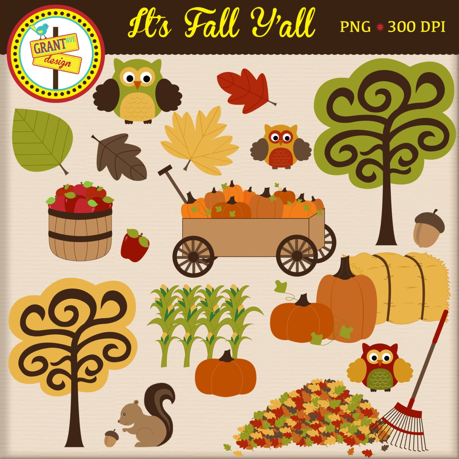 Fall Clip Art Fall Clipart Cute Digital by GrantAvenueDesign