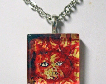Red cat art pendant and chain - CGP01-009