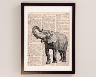 Vintage Elephant Dictionary Print - Elephant Art - Print on Vintage Dictionary Paper - Elephant Print - Elephant Trunk - Dictionart