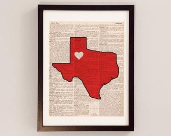 Texas Tech Red Raiders Dictionary Art Print - Lubbock Art - Print on Vintage Dictionary Paper - Texas Tech Football - Graduation Gift