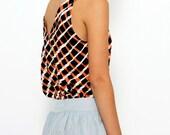 Valentines Day SALE! Geometric Blouse , Feminine Blouse , Spring Blouse , Elegant Shirt , Party Top , Printed Blouse