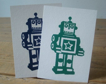Happy Robots - single cards with lino print