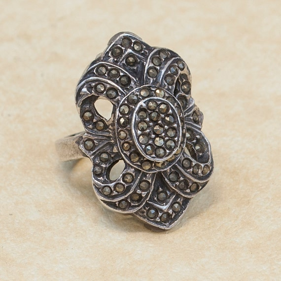 vintage sterling silver and marcasite ring by