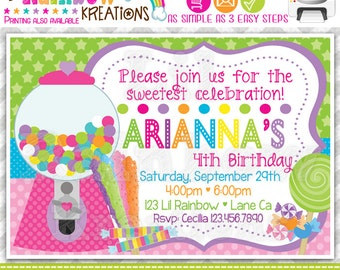 463: DIY - Cute Candy Shop Party Invitation Or Thank You Card