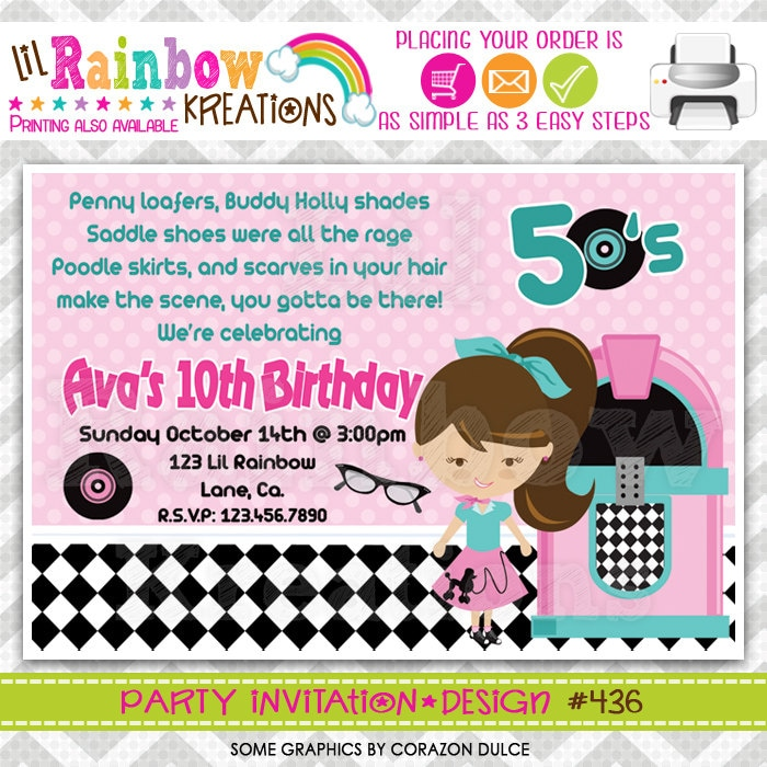 436: DIY 1950\'s Party Invitation Or Thank You Card