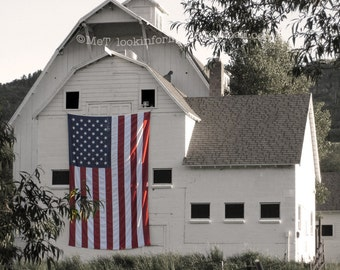 Americana Photo Art, Patriotic USA Flag, American Flag Photo, 4th of July photo, Park City Utah, Farm Photo, Utah Barn, Patriotic Photo art