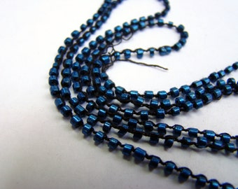 Vintage blue beaded crochet yarn cord for fiber arts, bead embroidery, and quilting - 5 yards