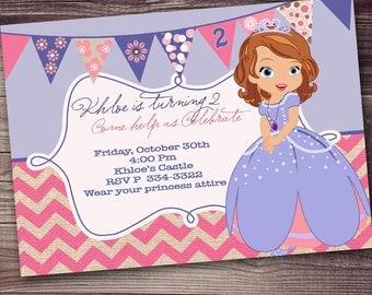 FAST CUSTOMIZED WORDING Princess Sophia Invitation, sophia birthday party invitation