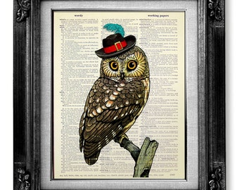 Whimsical BIRD Art Print, First ANNIVERSARY Gift for Man Boyfriend, Nursery Owl Art, DORM Room Decor, Love Bird Wall Art, Gangster Hat Owl