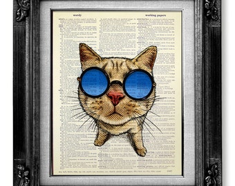 cat print dictionary art print on book page art book page print dictionary - Prints On Old Book Pages