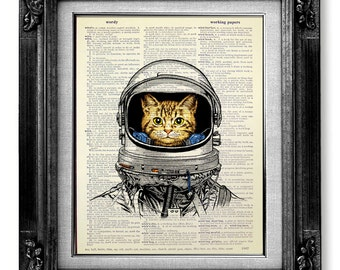 Whimsical CAT art Print Cat PRINT Cat Decor Cat PAINTING Cat Illustration Cat Wall Art Cat Drawing Cat Wall Decor Artwork Poster, Space Cat