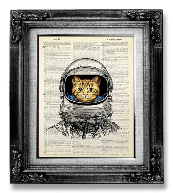 Whimsical CAT art Print Cat PRINT Cat Decor Cat PAINTING Cat Illustration Cat  Wall Art Cat