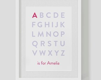 Personalised baby / children's alphabet name / monogram / birth kid's nursery print / poster 'is for' — FREE WORLDWIDE SHIPPING