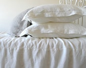 "Natural softened linen pillow case ""Vintage Dream"", Antique white"