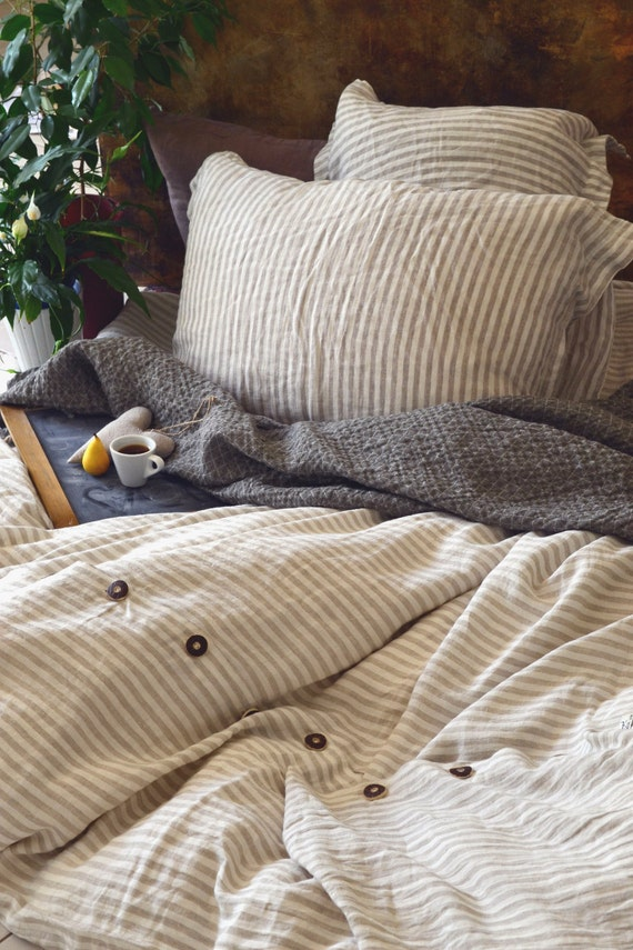 Stonewashed Linen Duvet Cover Stripes And Buttons
