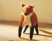 Fox soft sculpture / textile art / upcycled