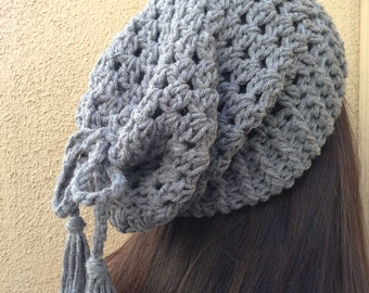 Crochet Grey Slouchy Beanie Hat, Women Gray Crochet Slouch Hat, Hat/Neckwarmer 2 in 1, Gift for Her, Gift for Teen Girls *Ready To Ship*