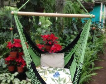 Black & Green Hammock Chair Handwoven